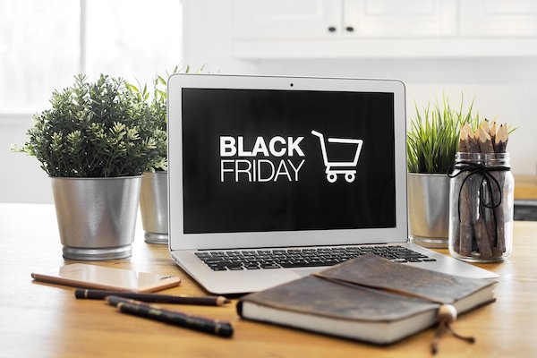 Black Friday featured in bold on a laptop screen.