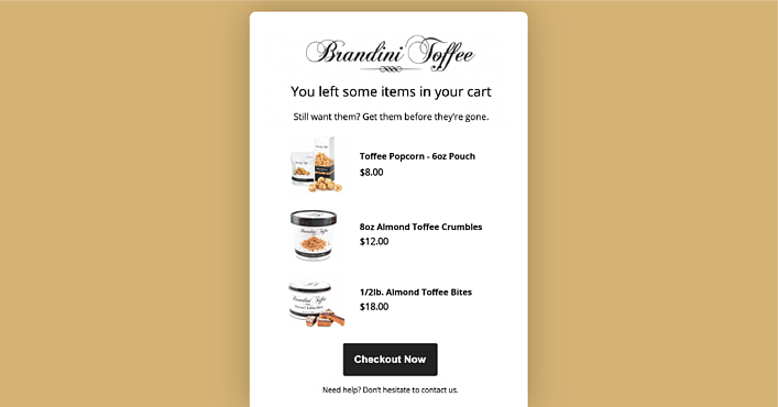 Brandini Toffees abandoned cart email campaign on a mustard yellow background