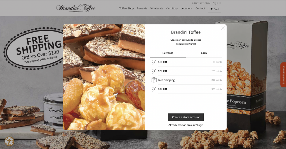 Brandini Toffees rewards tab of their online loyalty explainer widget