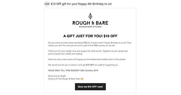Rough & Bare's email celebrating the stores' birthday and offering $10 off