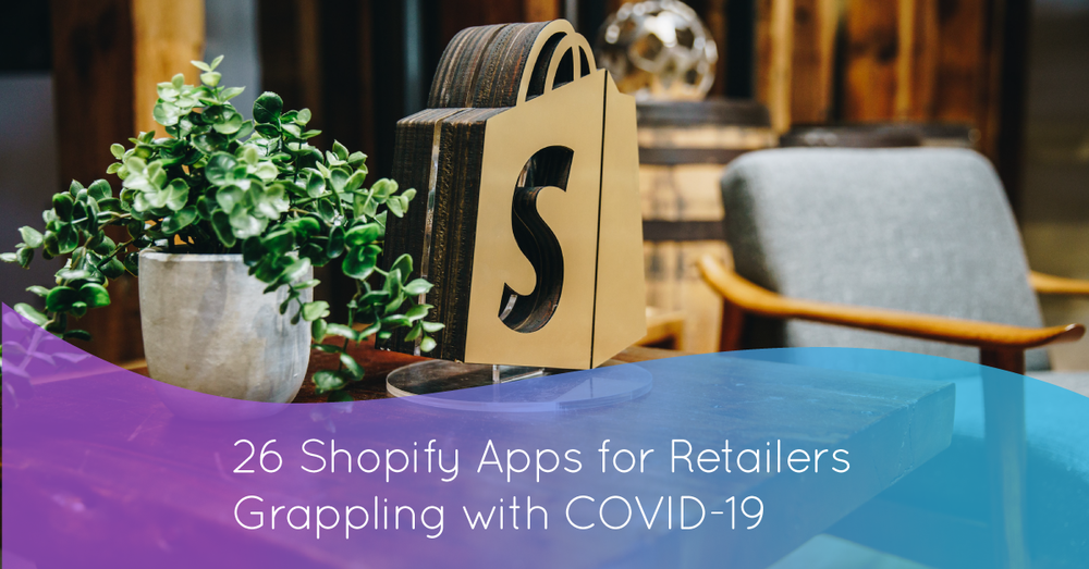 Marsello gradient over a Shopify logo. 26 Shopify apps for retailesr grappling with COVID-19