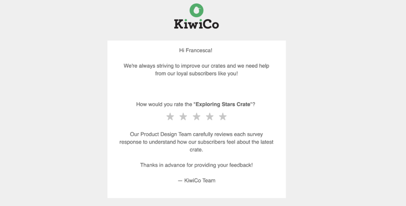KiwiCo asks subscribers to rate their experience of using a specific product with 5 stars.