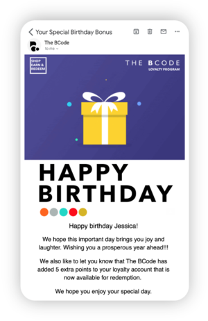 bCODE's automated Happy Birthday flow