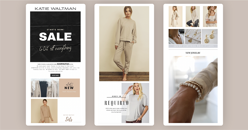 Katie Waltman's sale announcement email campaign on a tan background