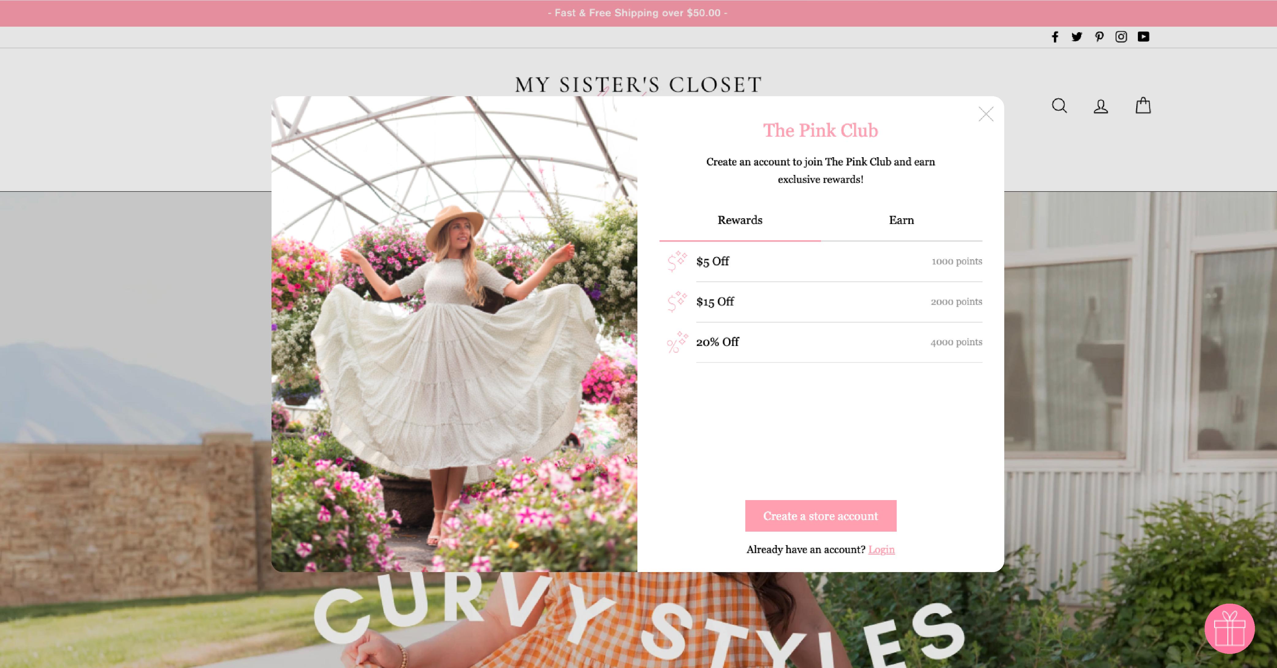 My Sister's Closet's on-website loyalty widget
