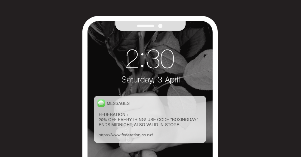 SMS Campaign from Federation offering a 20% discount overlaid on a phone screen