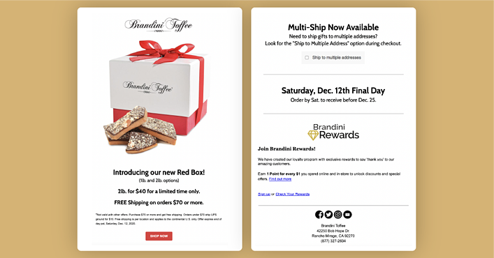 Brandini Toffees Red Box email campaign offering free shipping