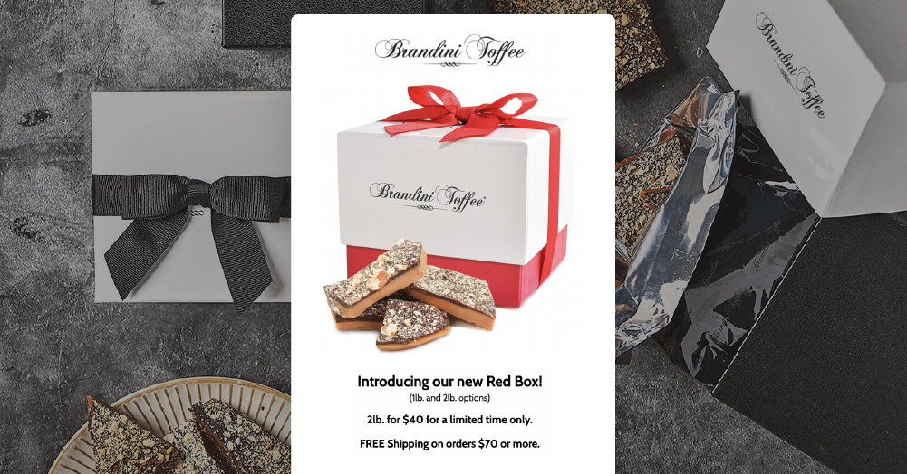 Brandini toffees pre-Christmas red box email campaign offering free shipping