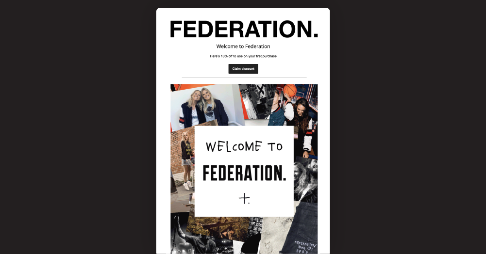 Federations automated Welcome email overlaid on a black background