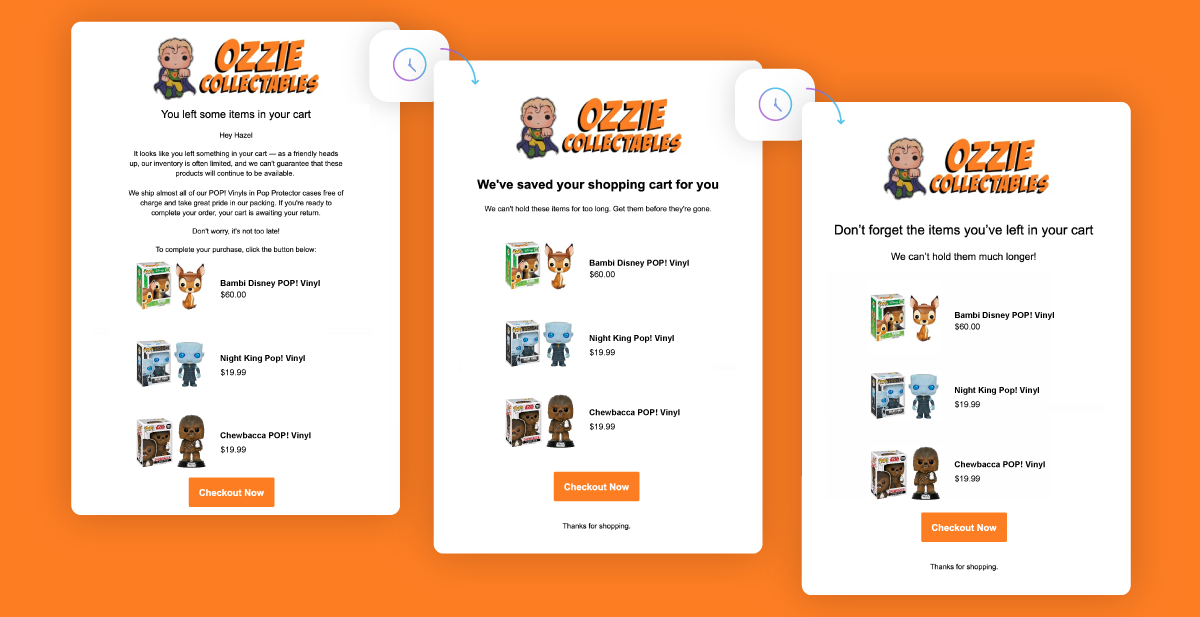 Ozzie Collectables' cart recovery automated email flow with time delays shown.