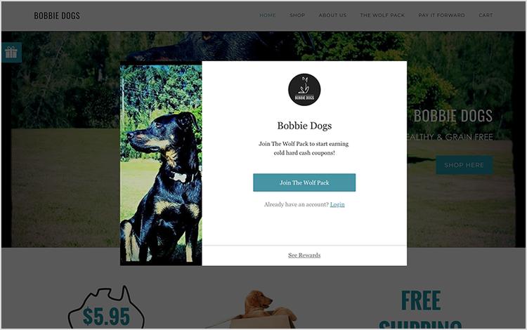 Pop-up widget that sits on Bobbie Dog's website homepage.