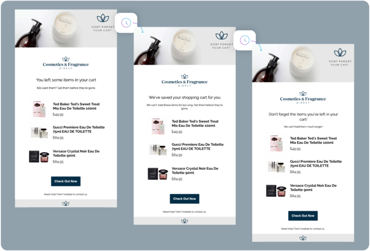 Cosmetics and Fragrance Direct's automated Thank First-time Customer email campaign with 3 emails promoting products and encouraging customers to 'Check Out Now'.
