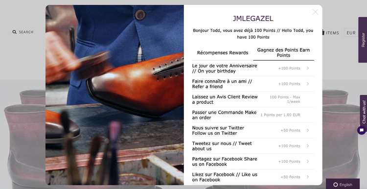 JMLEGAZEL's detailed and generous loyalty program features a widget pop-up on their website.