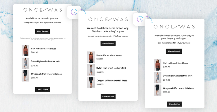 OnceWas' abandoned cart campaign with 3 emails that include a discount, product recommendations, and a 'check out now' CTA.