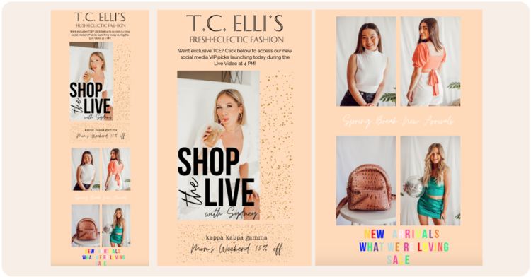 An email campaign by T.C. Elli's that promotes their 'Shop Live' campaign and offers customers 15% off.