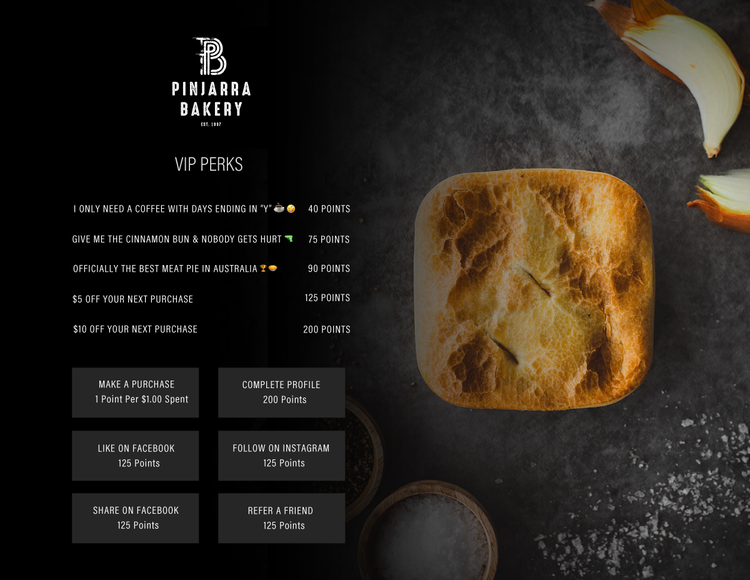Pinjarra Bakery's loyalty information page on their website including their earn options and loyalty program details.