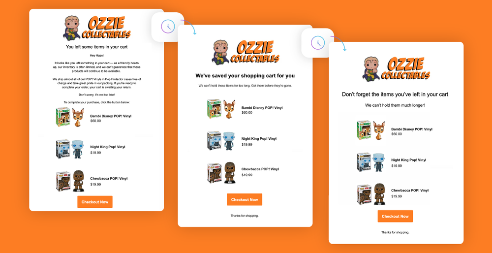 Alt tag: A banner with a bright orange background showcases the three emails of Ozzie Collectables Abandoned Cart automated campaign. They've included three recommended products in each email with a 'Checkout Now' CTA.