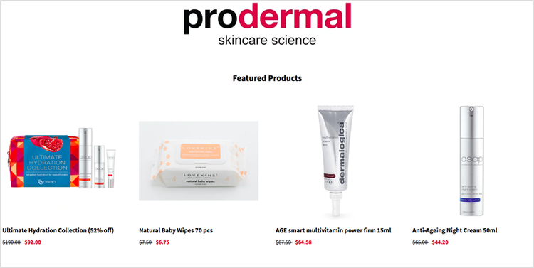 Prodermal's website including a 'featured products' section which showcases 4 suggested products.