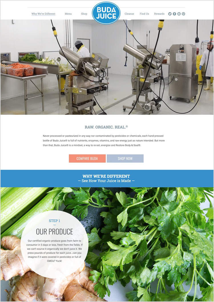 A 'how your juice is made' information page on the Buda Juice website.