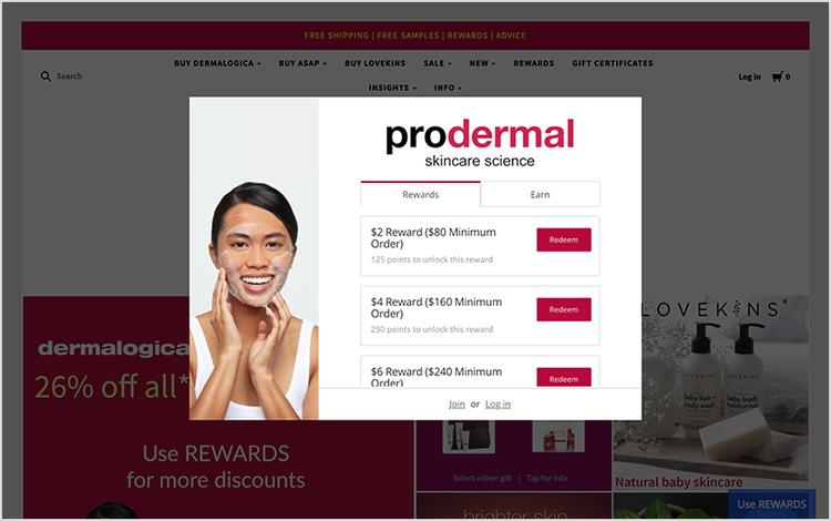 Prodermal's online widget, explaining rewards and earn options.