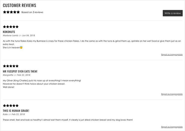 3 5-star customer reviews left on Bobbie Dog's website