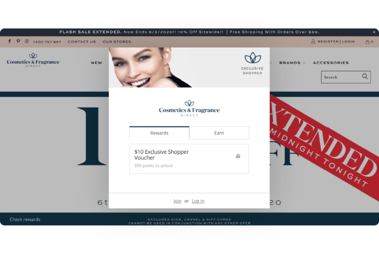 Cosmetics Fragrance Direct's loyalty widget popped-up over their online store.