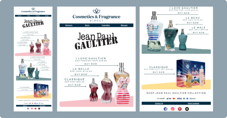 Cosmetics and Fragrance Direct's One-off Email Campaign marketing Jean Paul Gaultier perfume.