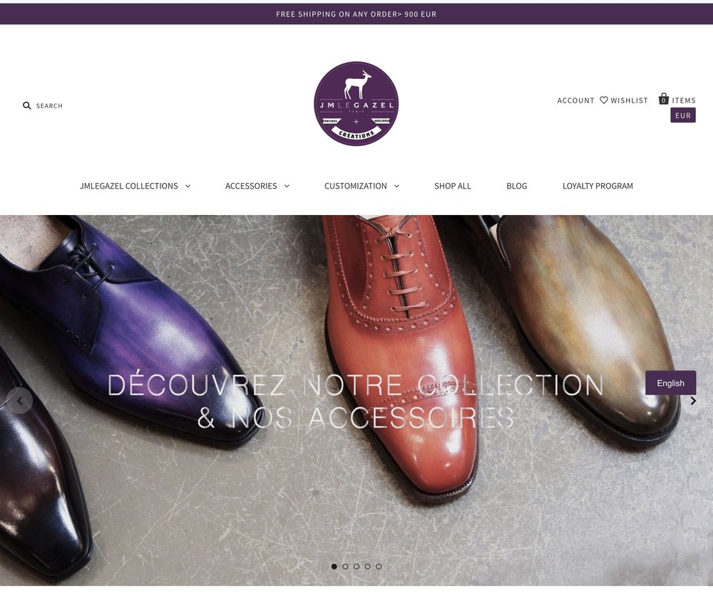 JMLEGAZEL's website features a large image of their hand-made patina shoes.