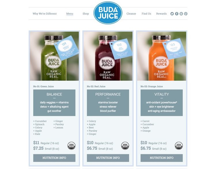 a selection of 3 juice products including their ingredients and nutritional info.