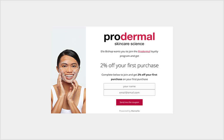 Prodermal's referral program pop-up that offers customers 2% off their first purchase.